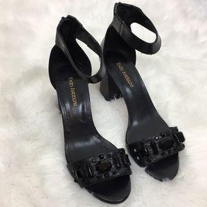 Enzo Angiolini Eagavenia Black Jeweled Heels Sz 10